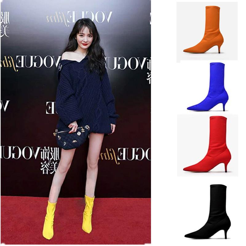2019秋冬季袜子靴弹力靴女网红同款尖头高跟显瘦细跟中筒短靴裸靴