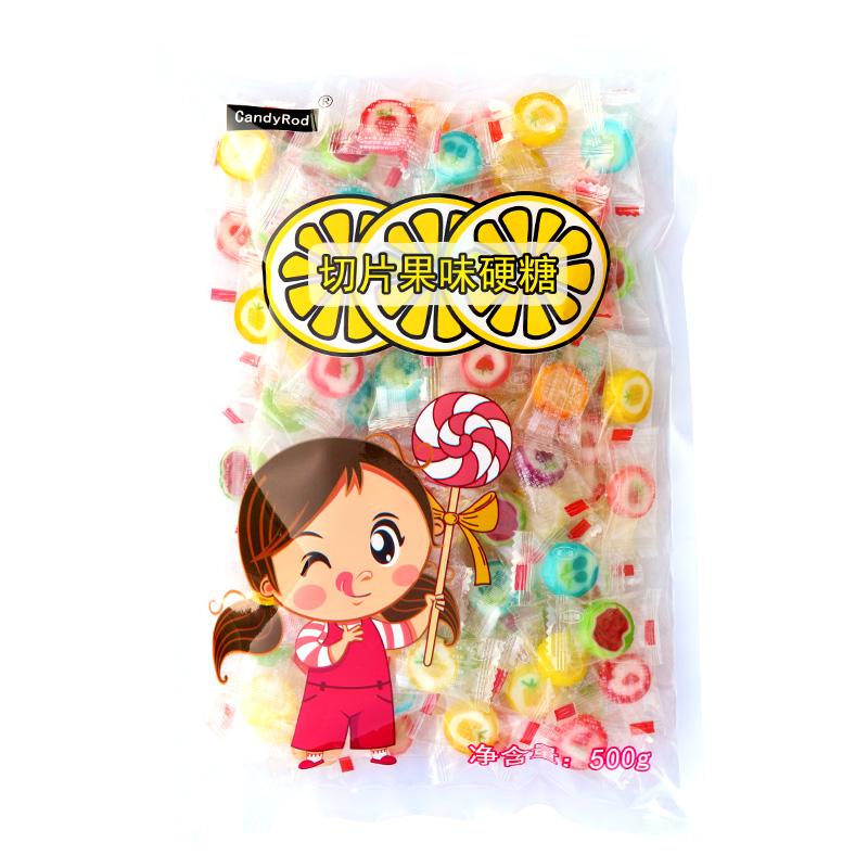 网红创意手工切片糖500g水果味硬糖小零食喜糖散装儿童糖果礼物
