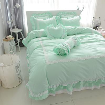 纯棉公主风床裙四件套 薄荷绿清新纯色蕾丝花边1.5/1.8m床上用品