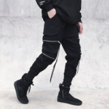 Guo Chao overalls men's tide brand zipper decorative streamers trend beam legs narrow feet pants street hip hop hiphop pants