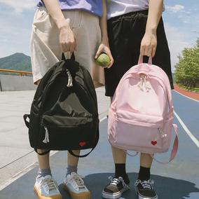 书包女双肩包夏季新款清新可爱纯色桃心防水初高中学生背包