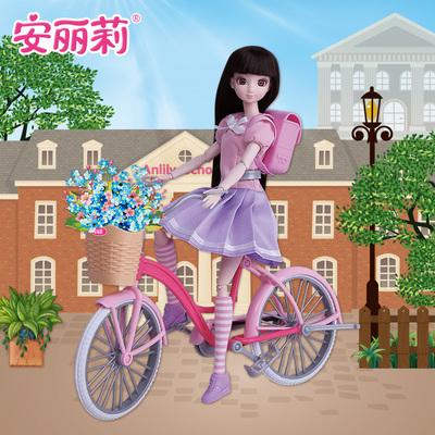 安丽莉青春校园骑自行单车背书包的芭比洋娃娃小公主女孩儿童玩具