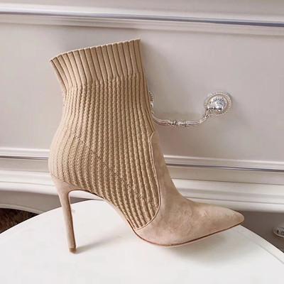 针织高跟鞋细跟尖头袜靴弹力毛线小跟短靴女春秋2018新款百搭靴子