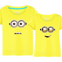 夏季夏装纯棉休闲圆领情侣装男女款短袖t恤衫上衣 卡通可爱小黄人