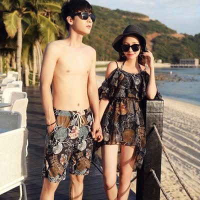 情侣套装韩国沙滩比基尼三件套女学生泳装 男士泳裤泡温泉游泳衣