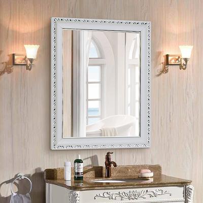 欧式浴室镜粘贴带框镜子卫生间镜卫浴镜洗手间镜贴墙镜壁挂镜梳妆