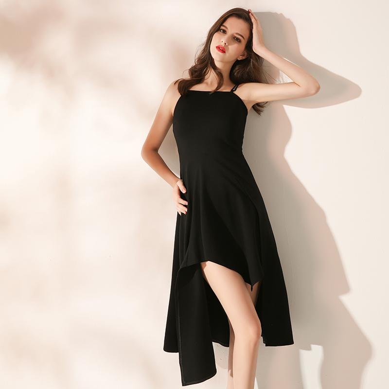 赫本小黑裙连衣裙2018新款女装夏季吊带不规则气质性感中长款优雅
