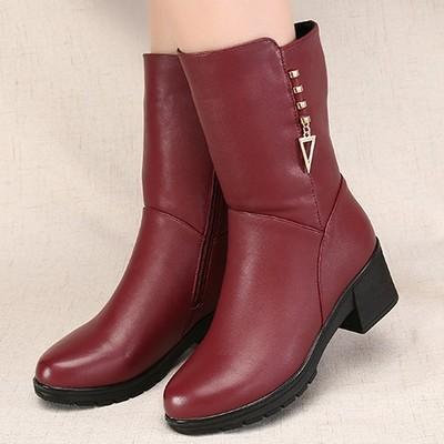 冬鞋女装棉靴30中年40岁50粗跟加绒保暖女式高档皮质妈妈中筒靴子