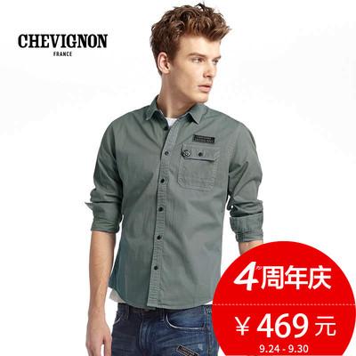 CHEVIGNON尚飞扬男装商场同款Label徽章系列长袖衬衫潮8283210383