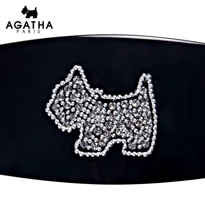 AGATHA浪漫气质黑色小狗气质顶夹  时尚甜美潮流精美发夹发饰饰品