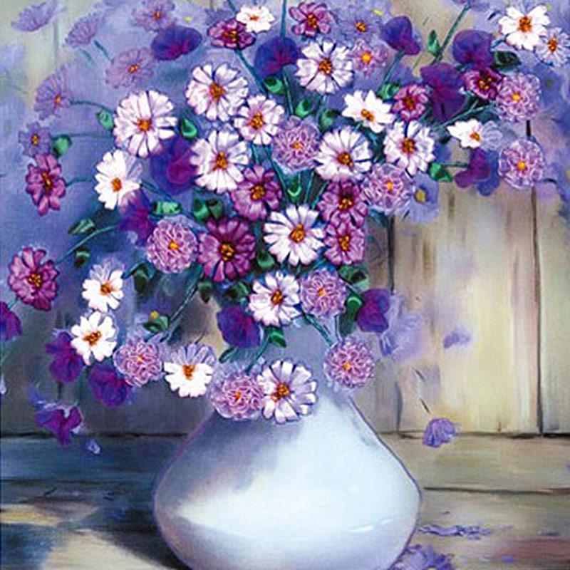 十字绣紫色花