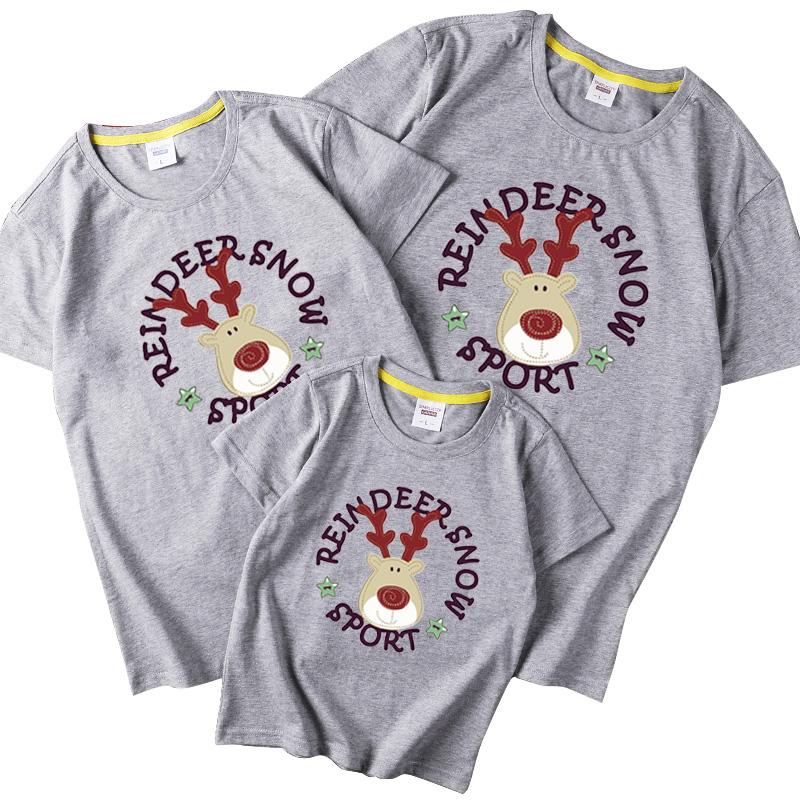 亲子装夏装圣诞麋鹿一家三口短袖家庭装母女母子装红色上衣T恤潮