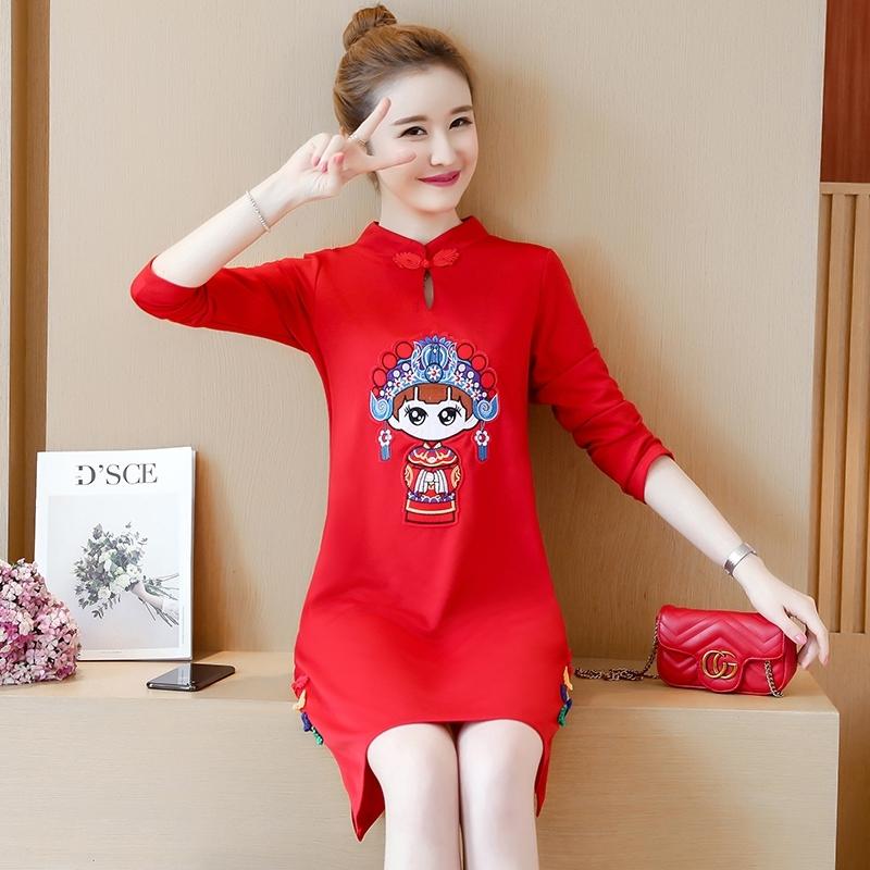 大码宽松红连衣裙