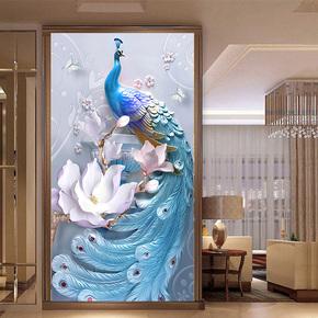 新款5D异形钻石画客厅满钻雀之灵浮雕贴钻画点钻石十字绣竖版玄关
