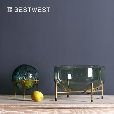 轻奢水果盘玻璃装饰品现代简约客厅茶几三件套装欧式家用创意摆件