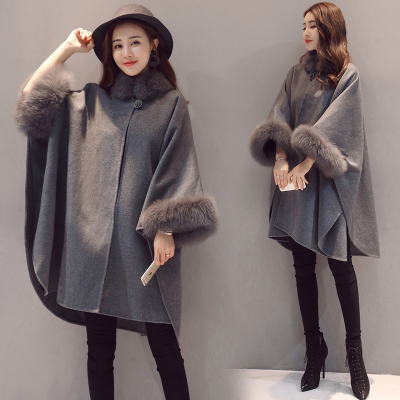毛呢外套女中长款2018秋冬季新款韩版宽松斗篷大毛领加厚呢子大衣