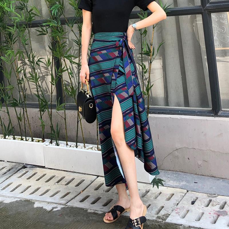 泰国裹裙夏民族风一片式半身裙系带雪纺一块布a字裙子长裙一片裙
