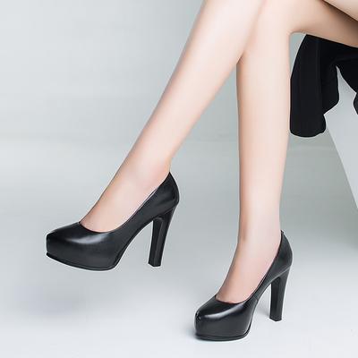 真皮黑色超高跟鞋粗跟单鞋女士皮鞋性感夜店OL模特防水台女鞋大码