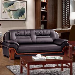 真皮办沙发办公室小户型三人位头层牛皮艺沙发接待室真皮沙发组合