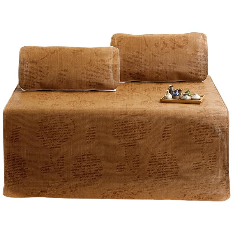 南极人凉席1.8m床折叠三件套竹加厚藤席空调席子1.5米学生单人1.2