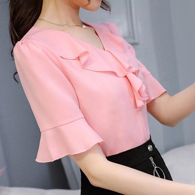 荷叶花边雪纺衬衫女夏季新款韩版V领显瘦甜美中袖上衣打底衫小衫