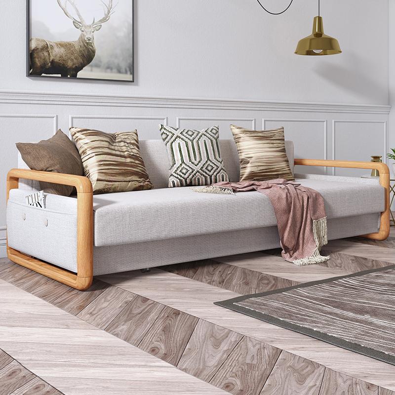 北欧客厅单人布艺小沙发现代简约小户型多功能折叠两用沙发床#