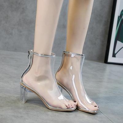 新款透明鱼嘴短靴女夏2018秋季粗跟高跟短筒靴子欧美PVC高帮女靴