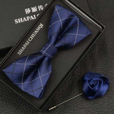 英伦韩版新郎伴郎结婚领结男士正装藏青深蓝色格子蝴蝶结bow tie