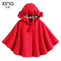 Girls cloak coat autumn and winter models baby baby foreign thickening princess shawl red children out children's cloak