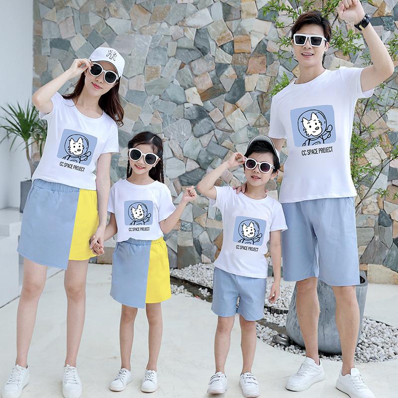 一家三口洋气短袖T恤套装四口母女装
