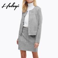 2018秋季新品时尚简约纯色麂皮绒单排扣门襟长袖双口袋休闲外套女