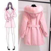 学生小个子显瘦 大毛领连帽收腰冬季毛呢外套女秋冬呢子大衣中长款图片
