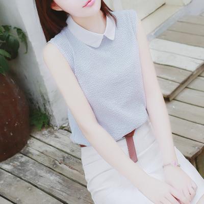 无袖雪纺衫女装夏季新款2018宽松显瘦娃娃领条纹上衣韩版衬衫百搭