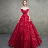 晚礼服女2018新款一字肩红色新娘敬酒服晚宴蓬蓬裙长款宴会显瘦秋