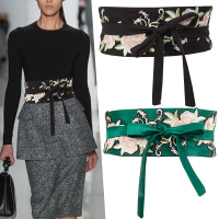 腰带女装饰连衣裙刺绣腰封绑带绿色束腰日式和风卷腰带女腰封黑色