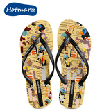 hotmarzz/黑玛印花人字拖鞋女平底跟防滑夹脚凉拖夏外穿沙滩鞋