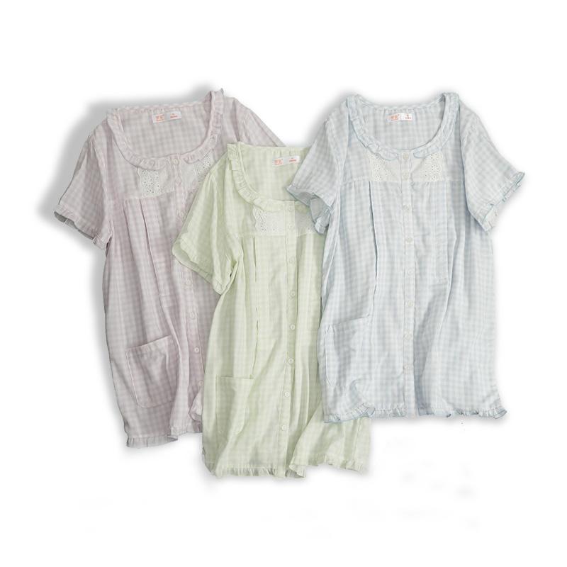 梦蜜孕妇睡衣夏女薄款短袖套装哺乳衣服纱布月子服纯棉产妇喂奶衣