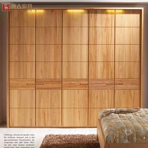唐古 全实木衣柜定制整体步入式衣帽间现代简约北欧原木组合衣柜