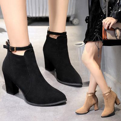 2018新款短靴子秋冬季韩版高跟鞋百搭女鞋绒面裸靴马丁靴粗跟女靴