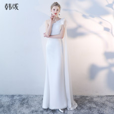 Evening dress female banquet temperament gas field queen long white high-end fishtail skirt chorus performance costume long skirt