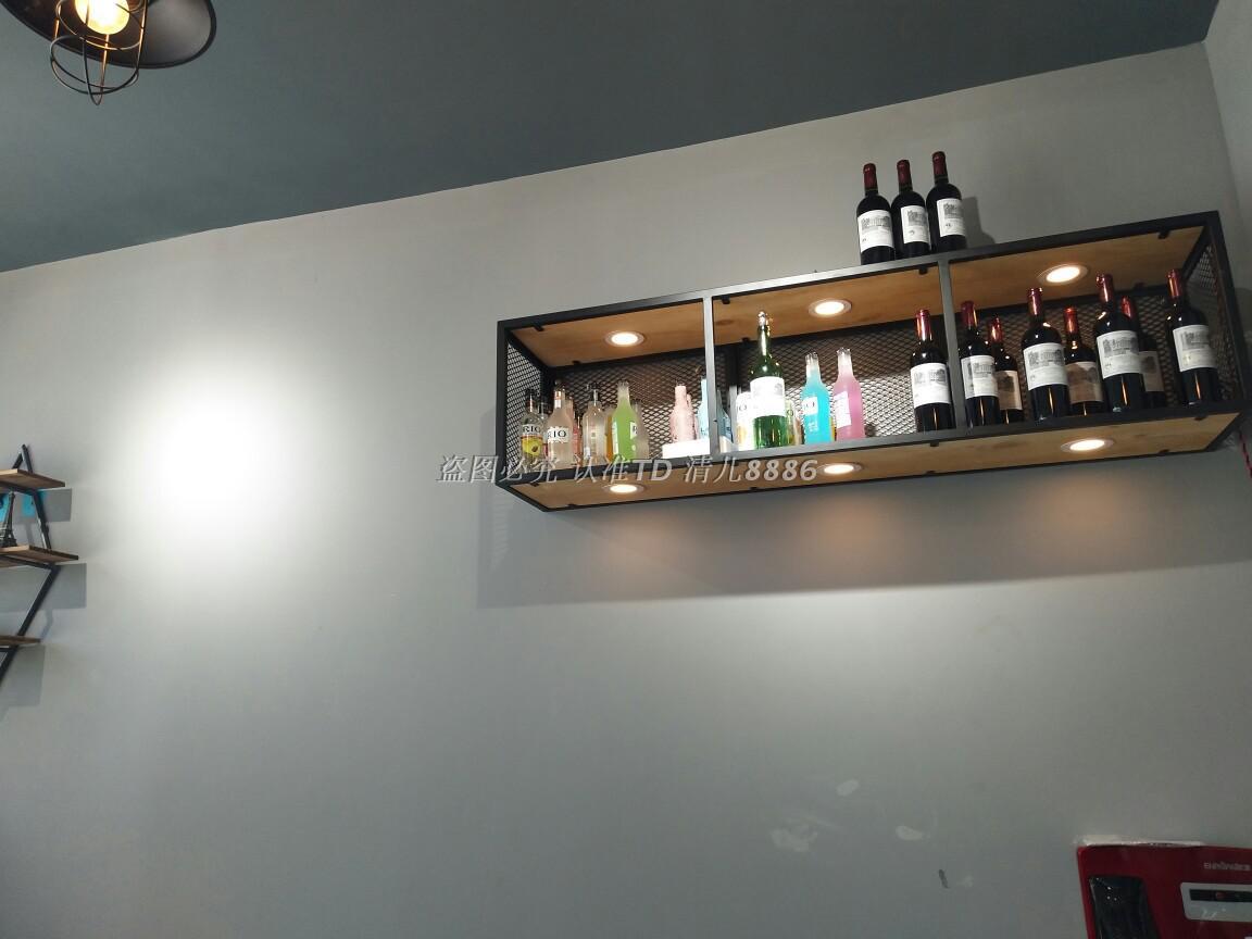 铁艺实木装饰壁挂酒架置物架餐厅吧台储物柜子工业风悬挂吊柜吊架
