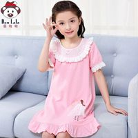 Children's cotton nightdress girls summer short-sleeved princess baby home service girls pajamas parent-child mother women's thin section