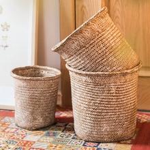 掬涵 天然草编花筒装饰花器花盆套收纳篮手工艺术美式中式日式
