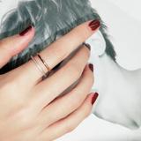 日韩国食指环微镶戒指女款镀18k玫瑰金戒子彩金简约潮钛钢配饰品