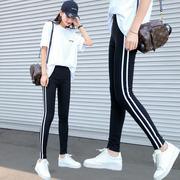 运动打底裤两条杠薄款夏季小脚2018新款外穿韩版显瘦紧身九分女裤
