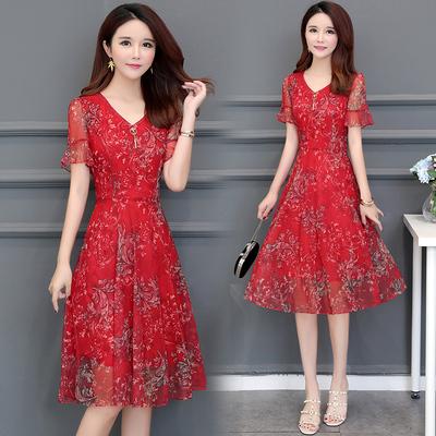 碎花雪纺连衣裙女2018夏装新款韩版修身显瘦中长款气质裙子妈妈装