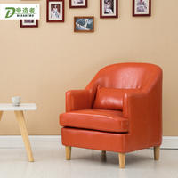 Single leather art sofa double three-seat sofa small apartment simple American sofa Internet cafe cafe hotel chair