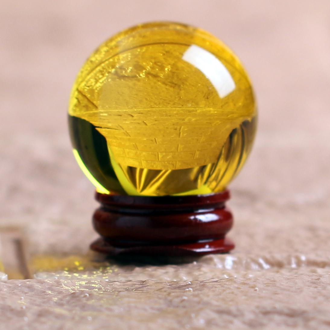 开光黄水晶球摆件招财镇宅旺运风水转运球黄色玄关客厅家居办公室