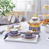 English afternoon tea set flower teacup set with European Nordic fruit teapot glass Japanese candle heating