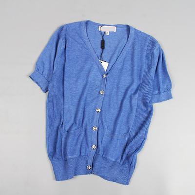 女士百搭修身V领单排扣针织衫春夏季超短细线坎肩小外套203E13B02